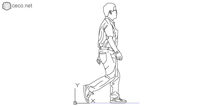 autocad drawing adult man walking the male walk in People, Men