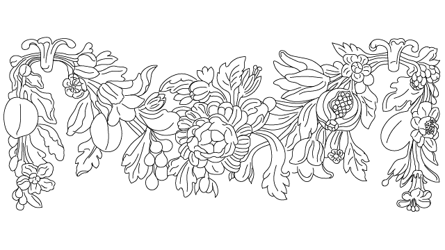Autocad Drawing Antique Flower Plaster Decoration Dwg