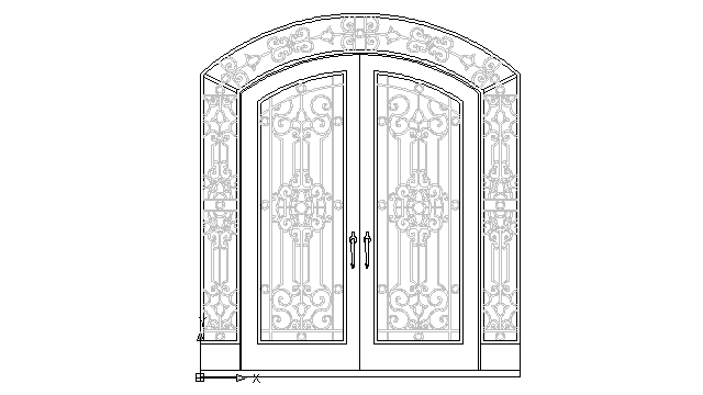 Autocad Drawing Antique Wrought Iron Door 2 Dwg