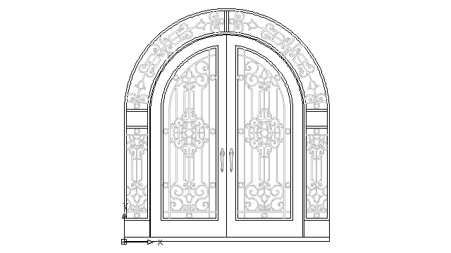 Autocad drawing antique wrought iron door iron ornamental