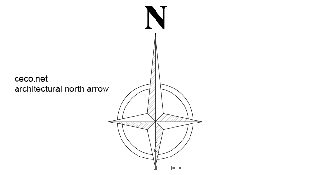 autocad drawing architectural north arrow 1 in Symbols Signs Signals, North Arrows