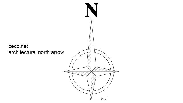 autocad drawing architectural north arrow 1 in Symbols, North Arrows