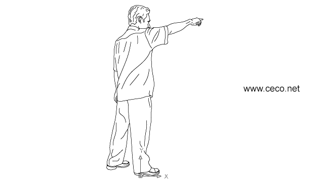 autocad drawing asian man standing in People, Men
