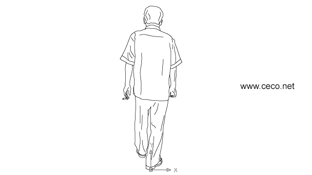 autocad drawing asian man walking with a cigarette in his hands - rear view in People, Men