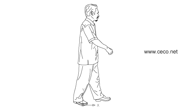 Autocad Drawing Asian Man Walking Dwg Dxf