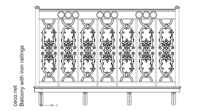 balcony railings ornamental iron works in Construction Details - Ceco.NET free autocad drawings