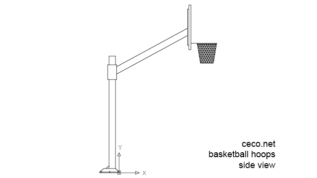autocad drawing basketball hoop pole side in Equipment, Sports Gym Fitness