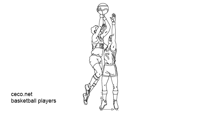 autocad drawing basketball players sportmen in People, Men