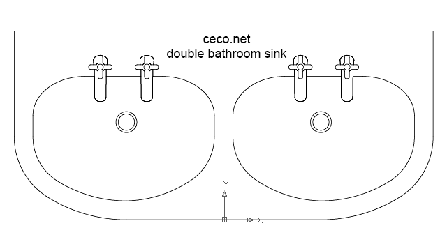 autocad drawing bathroom sink 1 double in Bathrooms Detail