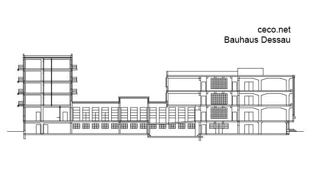 Bauhaus Dessau - Walter Gropius - section view in Architecture - Ceco.NET free autocad drawings