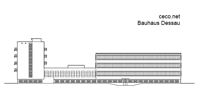 Bauhaus Dessau - Walter Gropius - side view in Architecture - Ceco.NET free autocad drawings