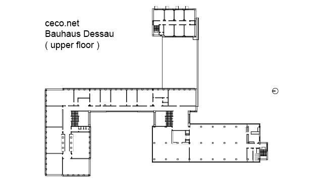 Bauhaus Dessau - Walter Gropius - upper floor in Architecture - Ceco.NET free autocad drawings