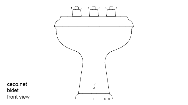 bidet 2 fron view in Bathrooms Detail - Ceco.NET free autocad drawings