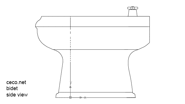autocad drawing bidet 2 side view in Bathrooms Detail