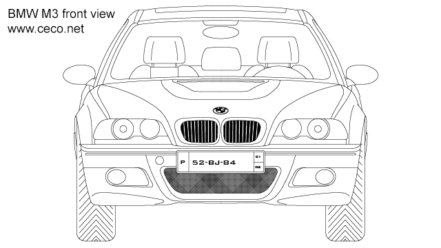 autocad drawing BMW M3 coupe 3-Series front view in Vehicles, Cars