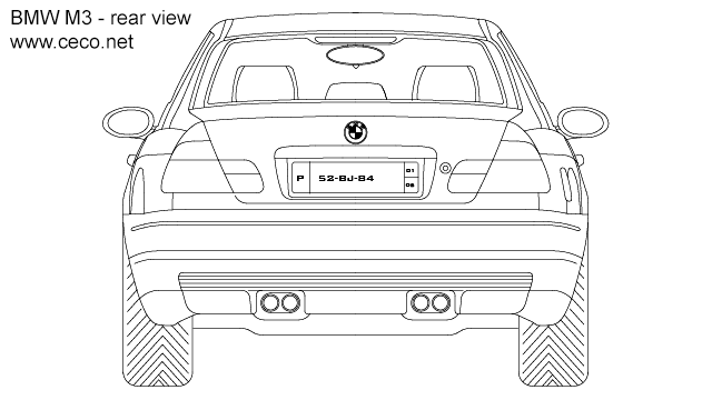 BMW M3 coupe - rear view in Vehicles / Cars - Ceco.NET free autocad drawings