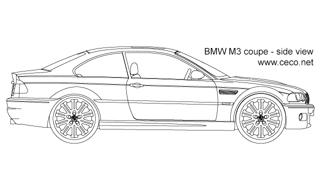 BMW M3 coupe - side view in Vehicles / Cars - Ceco.NET free autocad drawings