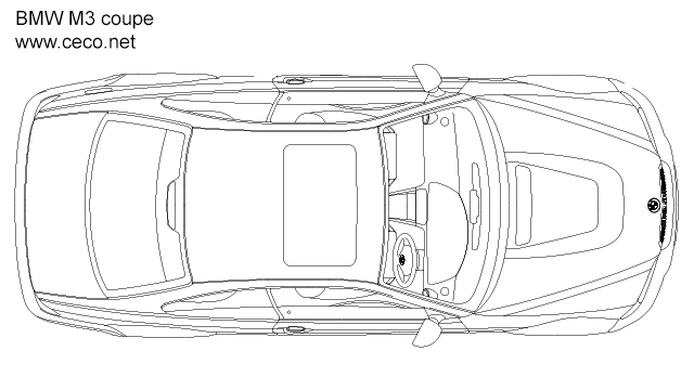 BMW M3 coupe - top view in Vehicles / Cars - Ceco.NET free autocad drawings