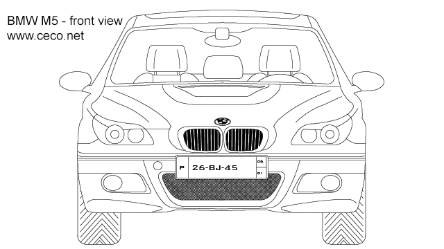 autocad drawing BMW M5 sedan automobile 5-Series - front view in Vehicles, Cars
