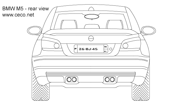 autocad drawing BMW M5 sedan automobile - rear view in Vehicles, Cars