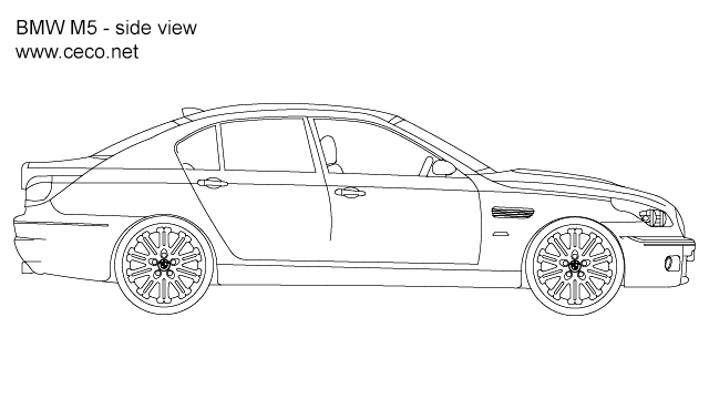 autocad drawing BMW M5 sedan automobile - side view in Vehicles, Cars