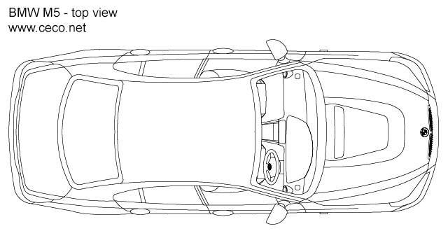 autocad drawing BMW M5 sedan car 5-Series - top view in Vehicles, Cars