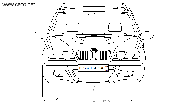 autocad drawing BMW X5 SUV 4x4 4WD - front view in Vehicles, Cars