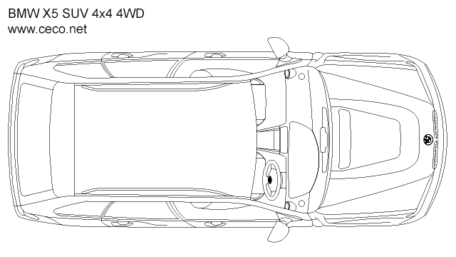 BMW X5 SUV 4x4 4WD - top view in Vehicles / Cars - Ceco.NET free autocad drawings