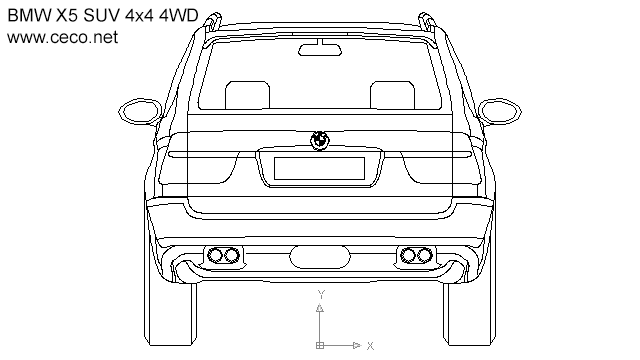 BMW X5 SUV 4x4 4WD - rear in Vehicles / Cars - Ceco.NET free autocad drawings