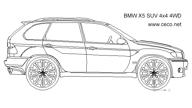 BMW X5 SUV 4x4 4WD - side in Vehicles / Cars - Ceco.NET free autocad drawings
