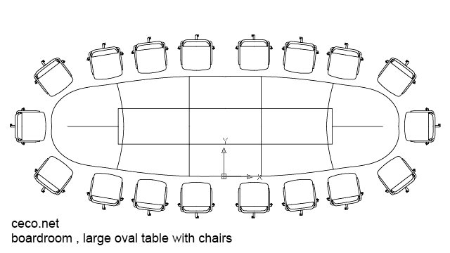 Autocad Drawing Boardroom Meeting Office Large Oval Table Dwg - Conference table dwg
