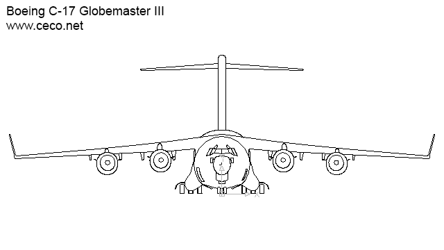autocad drawing Boeing C-17 Globemaster III cargo airplane front in Vehicles, Aircrafts