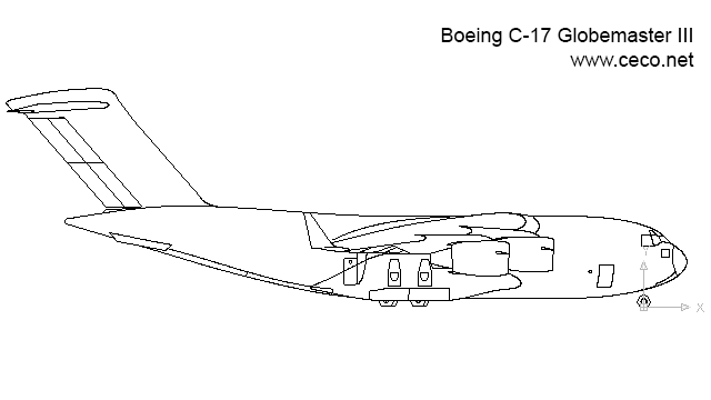 autocad drawing Boeing C-17 Globemaster III cargo airplane side in Vehicles, Aircrafts