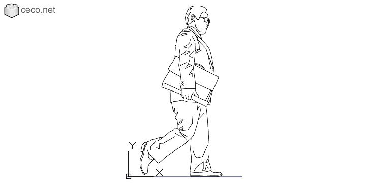 autocad drawing businessman, walking with a briefcase under his arm in People, Men