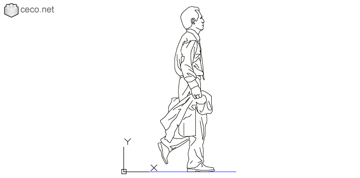 autocad drawing Businessman walking with his jacket in his hand in People, Men