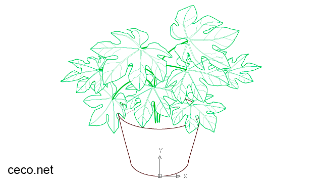 autocad drawing castor oil plant in a flowerpot in Garden and Landscaping, Plants Bushes