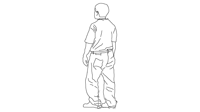 autocad drawing casual teenage boy - lateral view 1 in People, Men