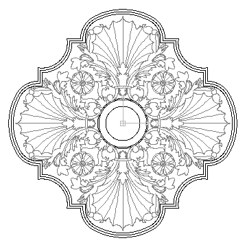 autocad drawing Ceiling Center 2 in Decorative elements