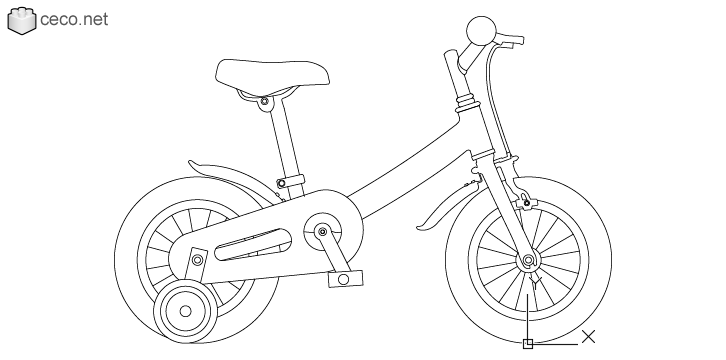 autocad drawing children bicycle with training wheels Kids Bikes in Vehicles, Bikes & Motorcycles