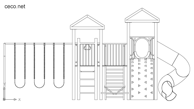 Autocad drawing children playground in park front view dwg