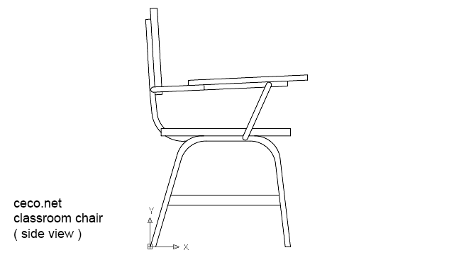 Classroom Furniture Dwg ~ Autocad drawing classroom chair in side view dwg