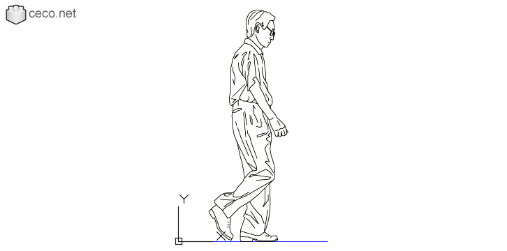 autocad drawing College professor walking middle-aged man go in People, Men