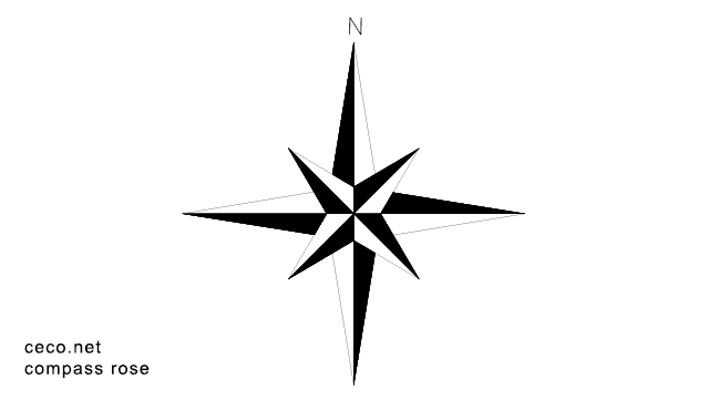 autocad drawing Compass Rose north arrow in Symbols Signs Signals, North Arrows