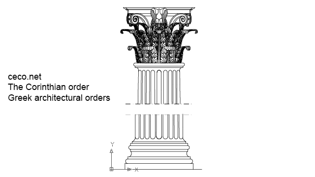 autocad drawing Corinthian order - ancient greek architectural orders in Architecture
