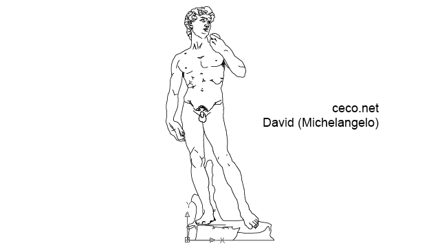 autocad drawing David Statue by Michelangelo in Decorative elements