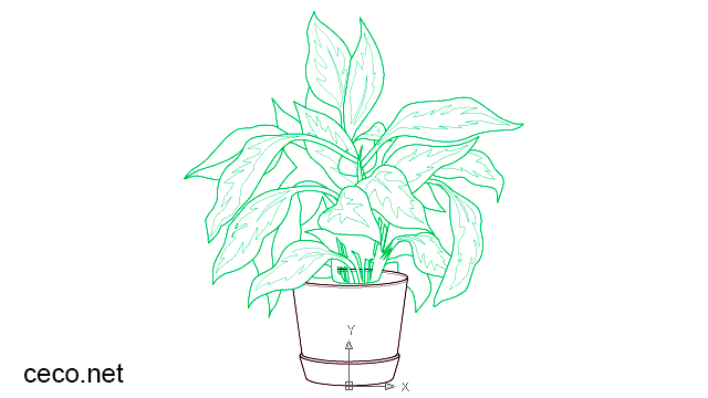 autocad drawing decorative indoor plant pot with large leaves in Garden & Landscaping, Plants Bushes