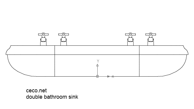double bathroom sink 1 front view in Bathrooms Detail - Ceco.NET free autocad drawings