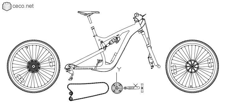 autocad drawing Downhill mountain bike parts, bicycle in parts in Vehicles, Bikes & Motorcycles
