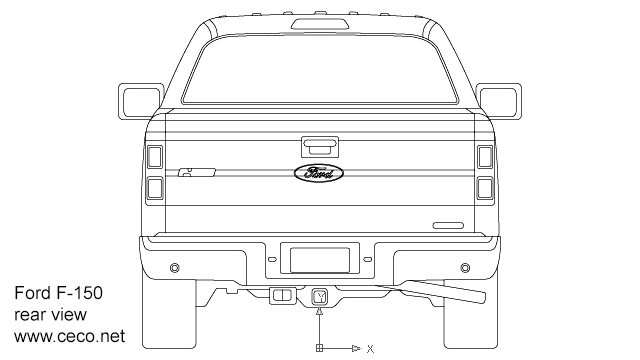 autocad drawing F150 Ford pick-up regular cab rear view in Vehicles, Cars