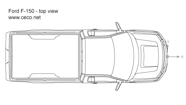 F150 Ford pick-up regular cab top view in Vehicles / Cars - Ceco.NET free autocad drawings